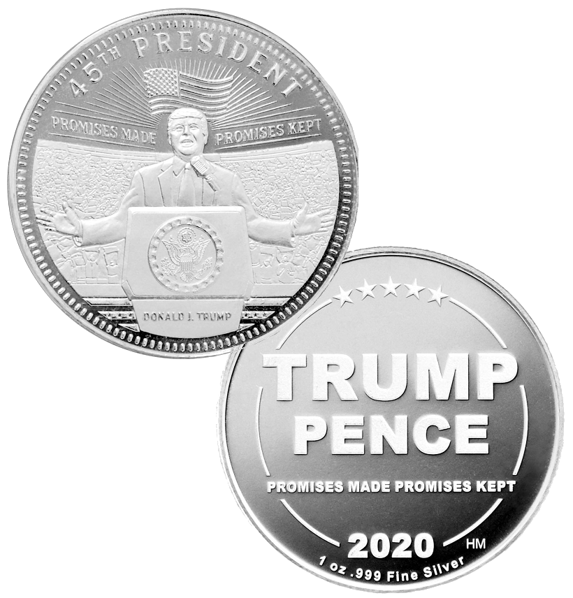 this is our trump rally commemorative coin - showing the trump / pence reverse that is standard on all of our 1oz coins - .999 1oz silver -