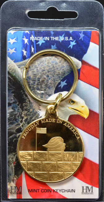 Bronze Trump Build the Wall Key Chain