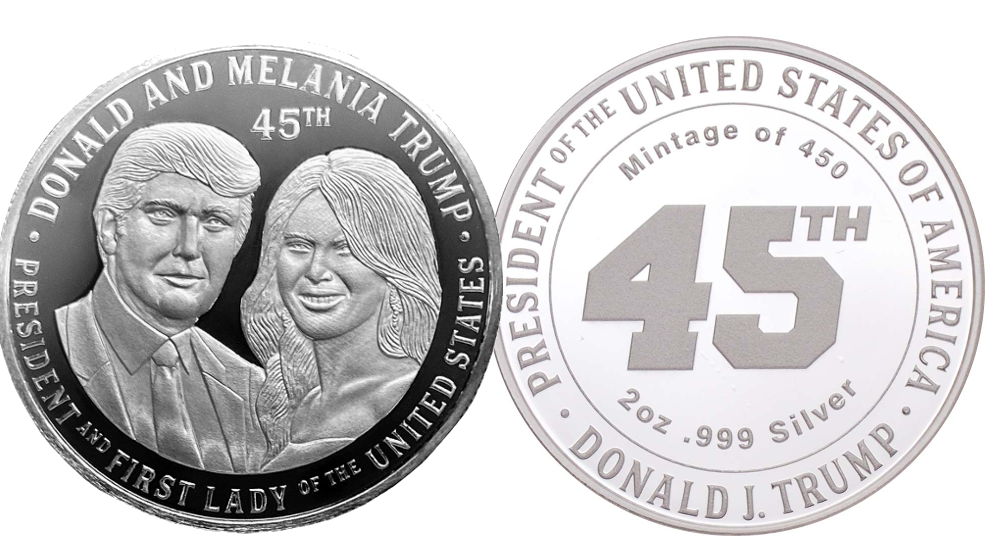President Trump and First Lady Melania 2oz Silver Commemorative Coin, this is the front and back profile of the coin