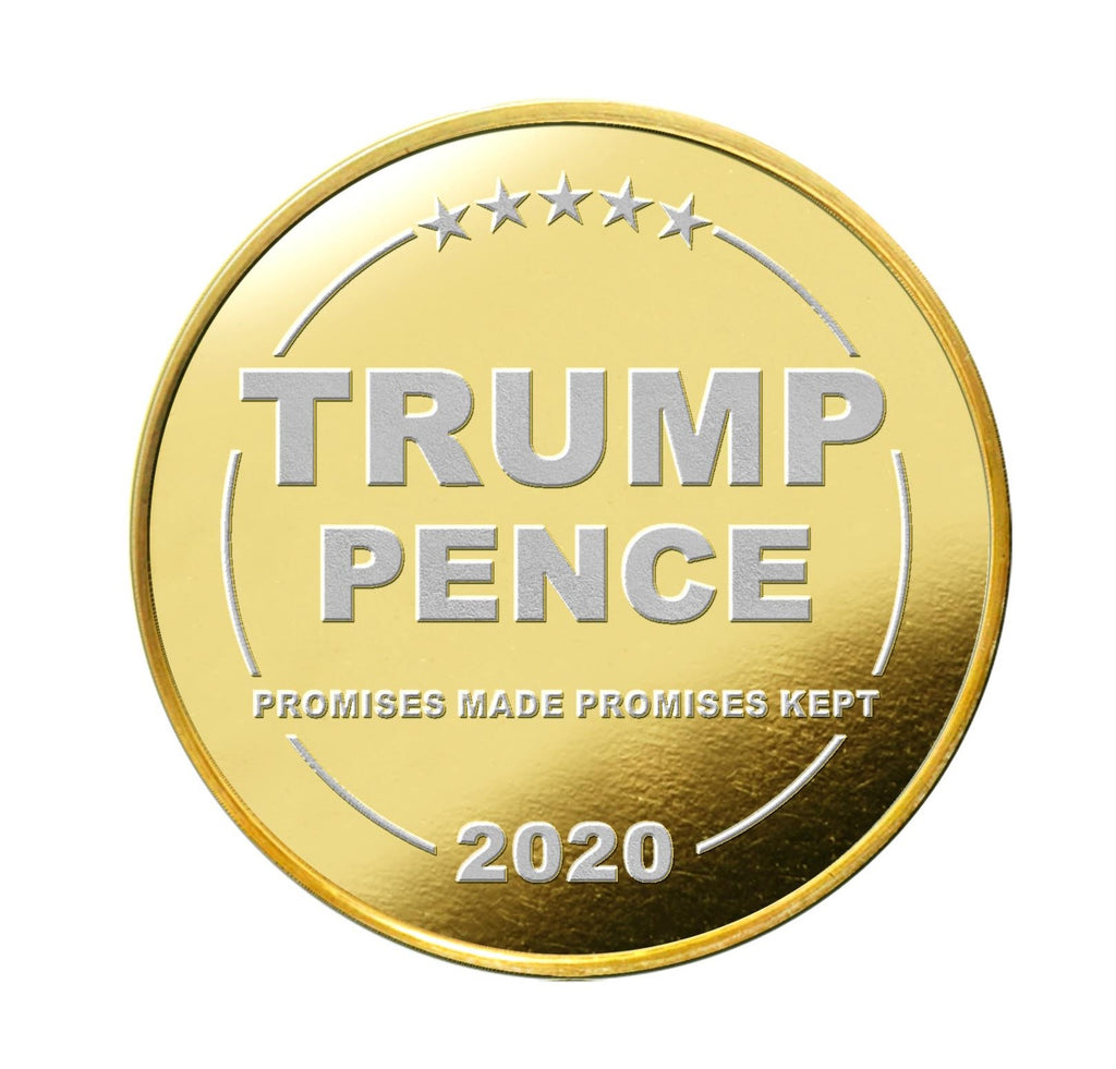 our two tone gold and silver plated trump train coin with its serial number on the edge.