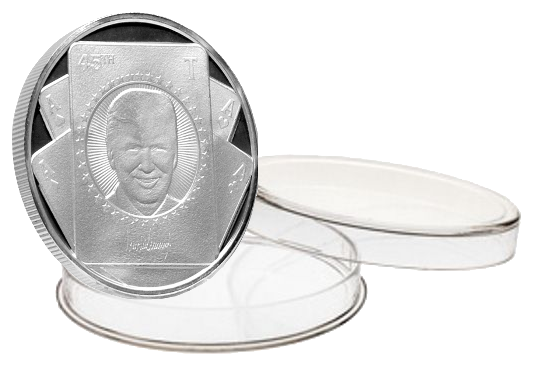 this is our trump card silver coin. when you have the trump card how can you loose. another perfect addition to our trump commemorative coin series.