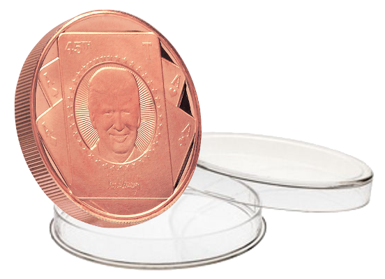 this is our trump card copper coin. another great addition to our trump commemorative coin line.