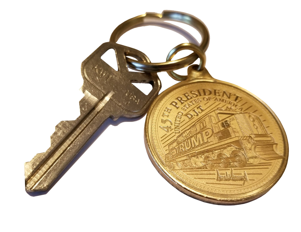 Trump Train Bronze Key Chain, same exact size as our Trump Train Coin just made out of bronze make it a little tougher.