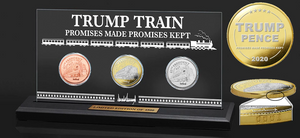 this is our limited edition set of three Trump Train Coins.