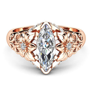CZ Stone Rose Gold Color Flower Wedding Rings