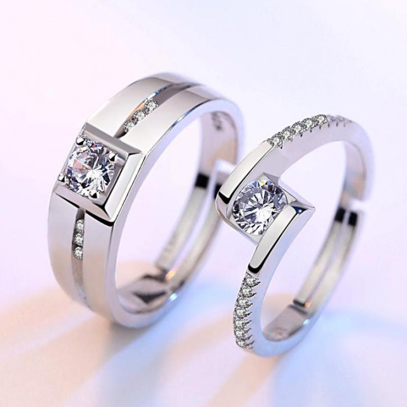 Zircon 925 Sterling Silver Color Adjustable Wedding Ring For Women & Men