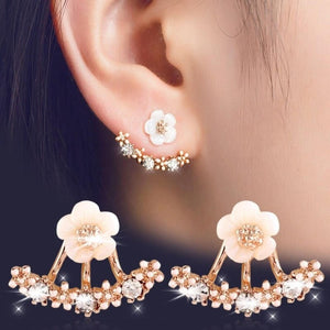 Crystal Daisy Flower Geometry Stud Earrings
