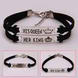 2Pcs Matching Set His Queen Her King Alloy Couple Bracelet