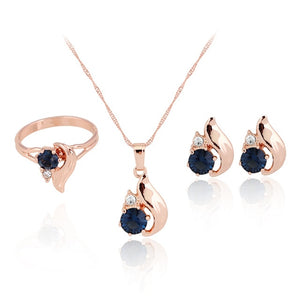 Graceful Rhinestones Flower Ring Necklace Earring Set