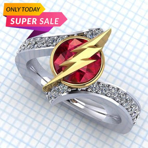 Shiny Crystal Red White Zircon Ring