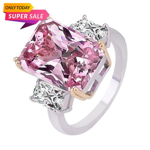 Pink Princess Cut Cubic Zircon Crystal Ring