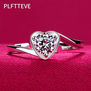 Zircon Heart Open Rings For Women Adjustable Ring