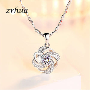 925 Sterling Silver Love Flower Pendant Neckace For Women Gift