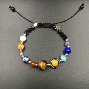 Solar System Universe Galaxy Eight Planets Bracelet & Natural Stone Beads Adjustable Bracelet