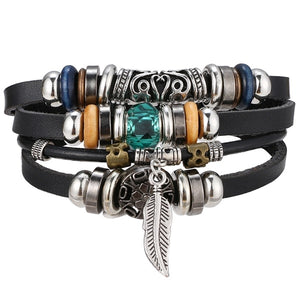 Multi-layer Leather Feather Leaf Bracelet Men's Gift