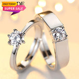 DpTrends Crystal CZ Stone Wedding Couples Adjustable Ring