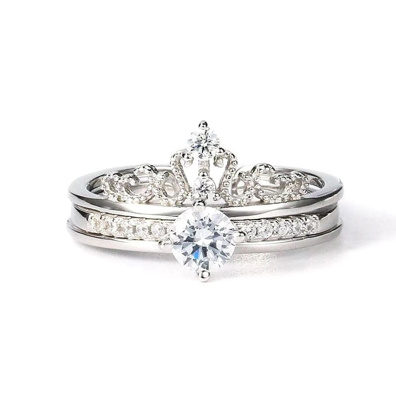 Crown Open Cuff Double Layer Luxury adjustable Ring