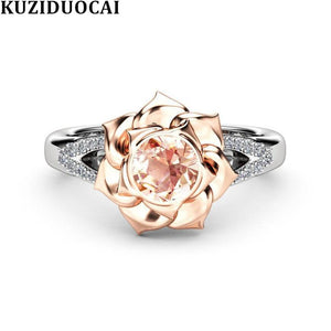 Mosaic Dazzling Zircon Rose Flower Stainless Steel Wedding Rings