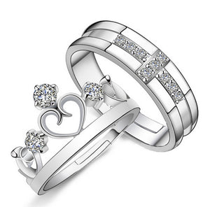 1 Pair =2pcs Romantic Crystal Ring Women & Men