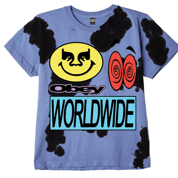 ACID CRASH HEAVYWEIGHT TIE DYE TEE BLUE | OBEY Clothing