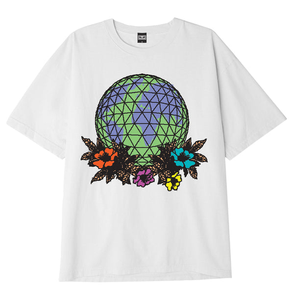 OBEY FLORAL GLOBE HEAVYWEIGHT BOX TEE WHITE | OBEY Clothing