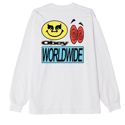 ACID CRASH HEAVYWEIGHT LONG SLEEVE TEE WHITE | OBEY Clothing