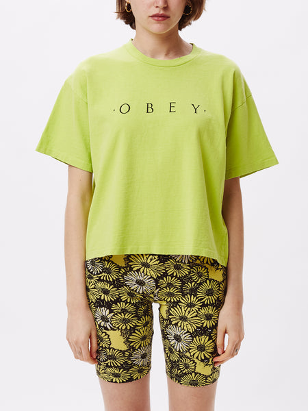 NOVEL OBEY CUSTOM CROP TEE BRIGHT LIME | OBEY Clothing