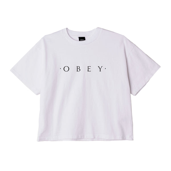 NOVEL OBEY CUSTOM CROP TEE WHITE | OBEY Clothing