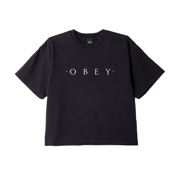 NOVEL OBEY CUSTOM CROP TEE OFF BLACK | OBEY Clothing