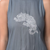 Grey Hand Embroidered Top