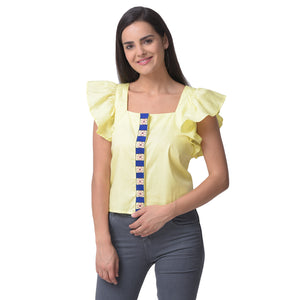 Kantha Embroidered Light Yellow Top