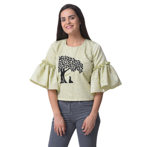 Pista Green Embroidered Satin Top