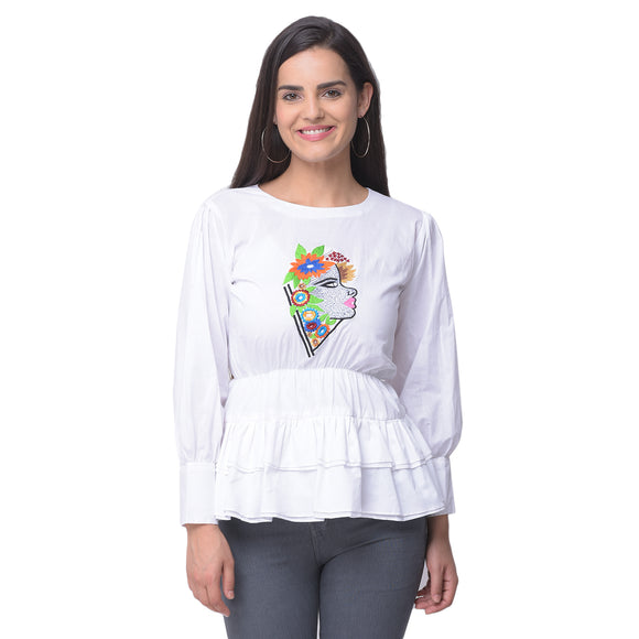White Khadi Embroidered Top