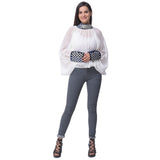 White Gota Patti Sheer Top