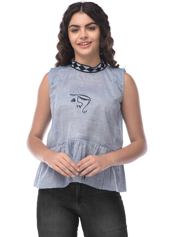 Khadi mother's love embroidered Top