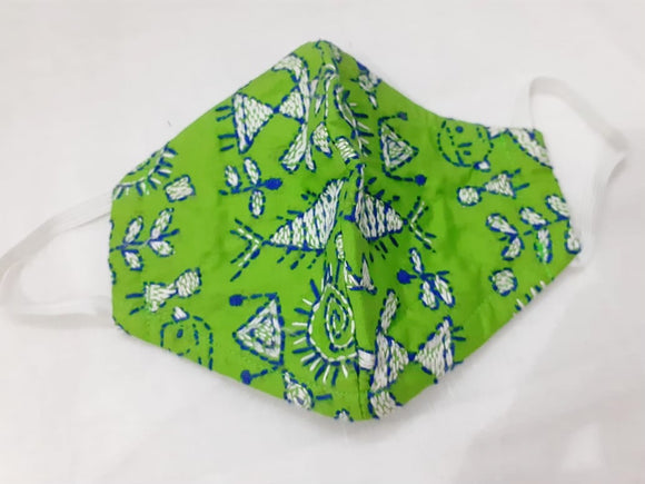 Green Kantha Embroidered Masks