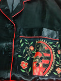 Black Madhubani Painted Satin Pyjama Sets