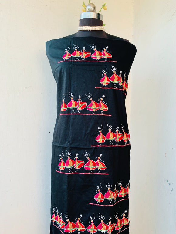 Black Kantha Hand Embroidered Unstitched Kurti