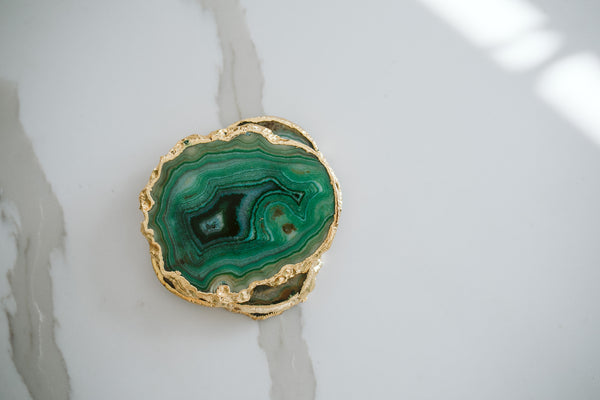 Green Agate Coaster Slice