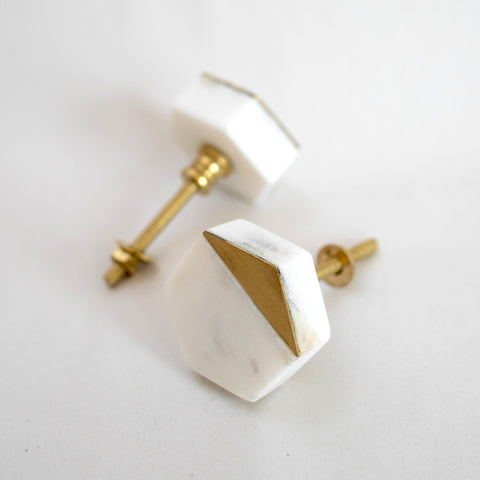 Hexagon White Marble and Brass Drawer Pull