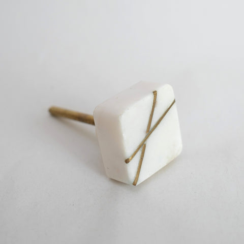 Square Marble and Gold Brass knob