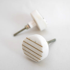 Stripe White Marble and Brass Round Drawer Pull