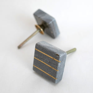 Grey Stone Square Gold Line Cabinet Knobs