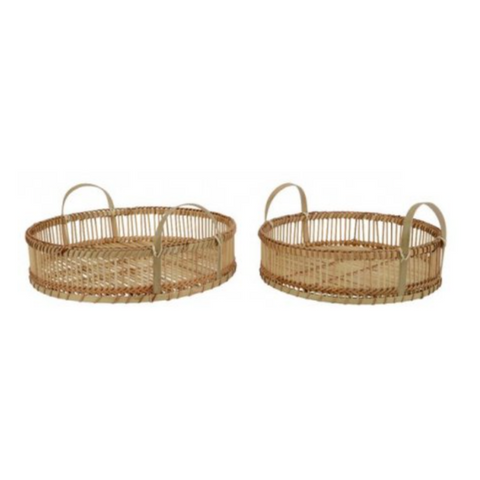 Set of 2 Natural Bamboo Tray