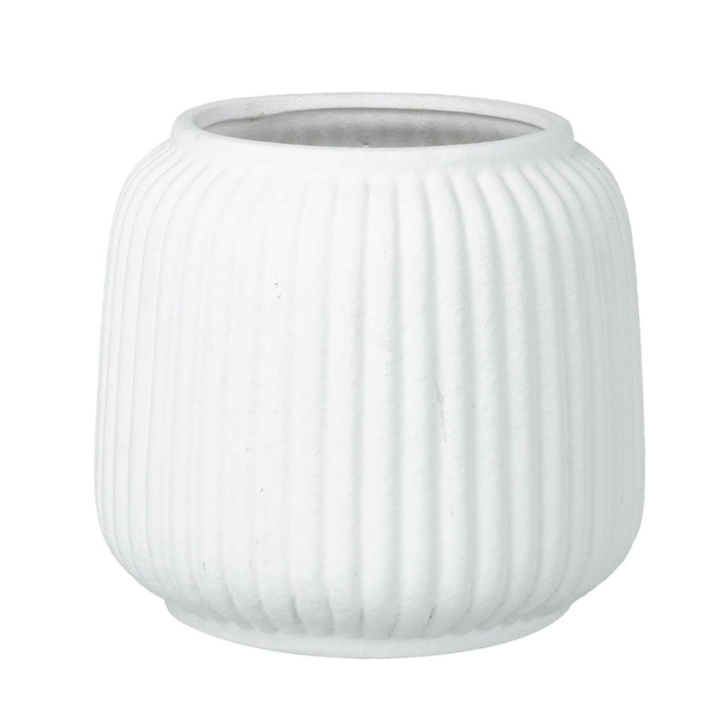 Bernadette White Ceramic Ridge Planter