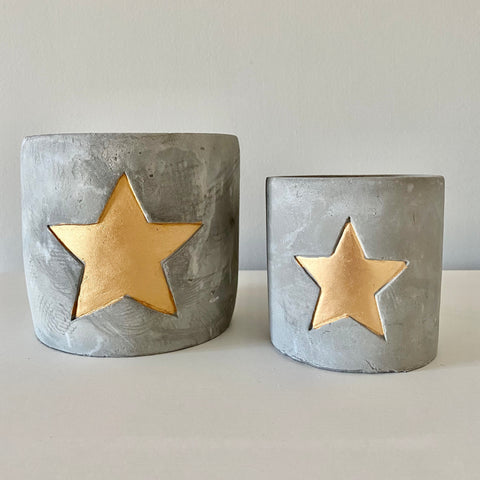 Grey Rustic Style Gold Star Cement Candle Holders