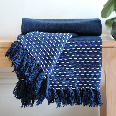 Navy & White Blue Throw