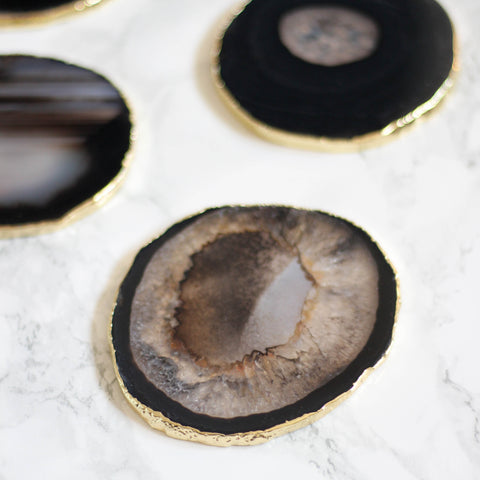 Black Round Agate Coaster