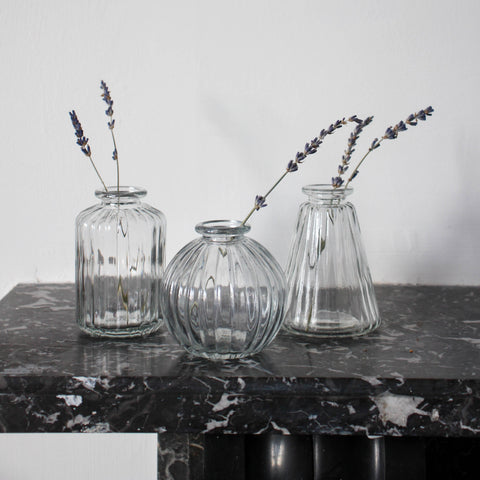 Set of 3 Grey Bud Vases