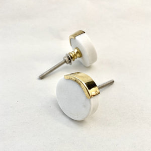 Kensington White Marble and Brass Drawer Pull